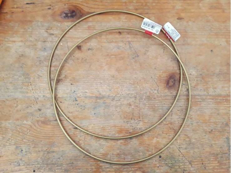 Kovový kruh na lapač snov Ø25 | zlatý