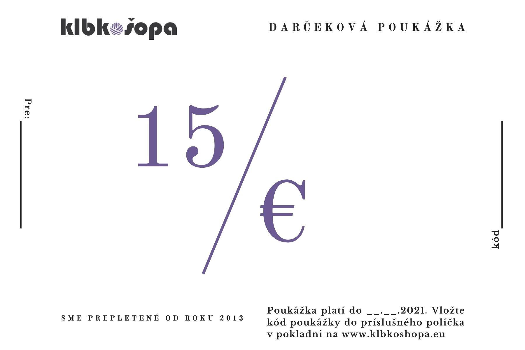 15€ darčeková poukážka
